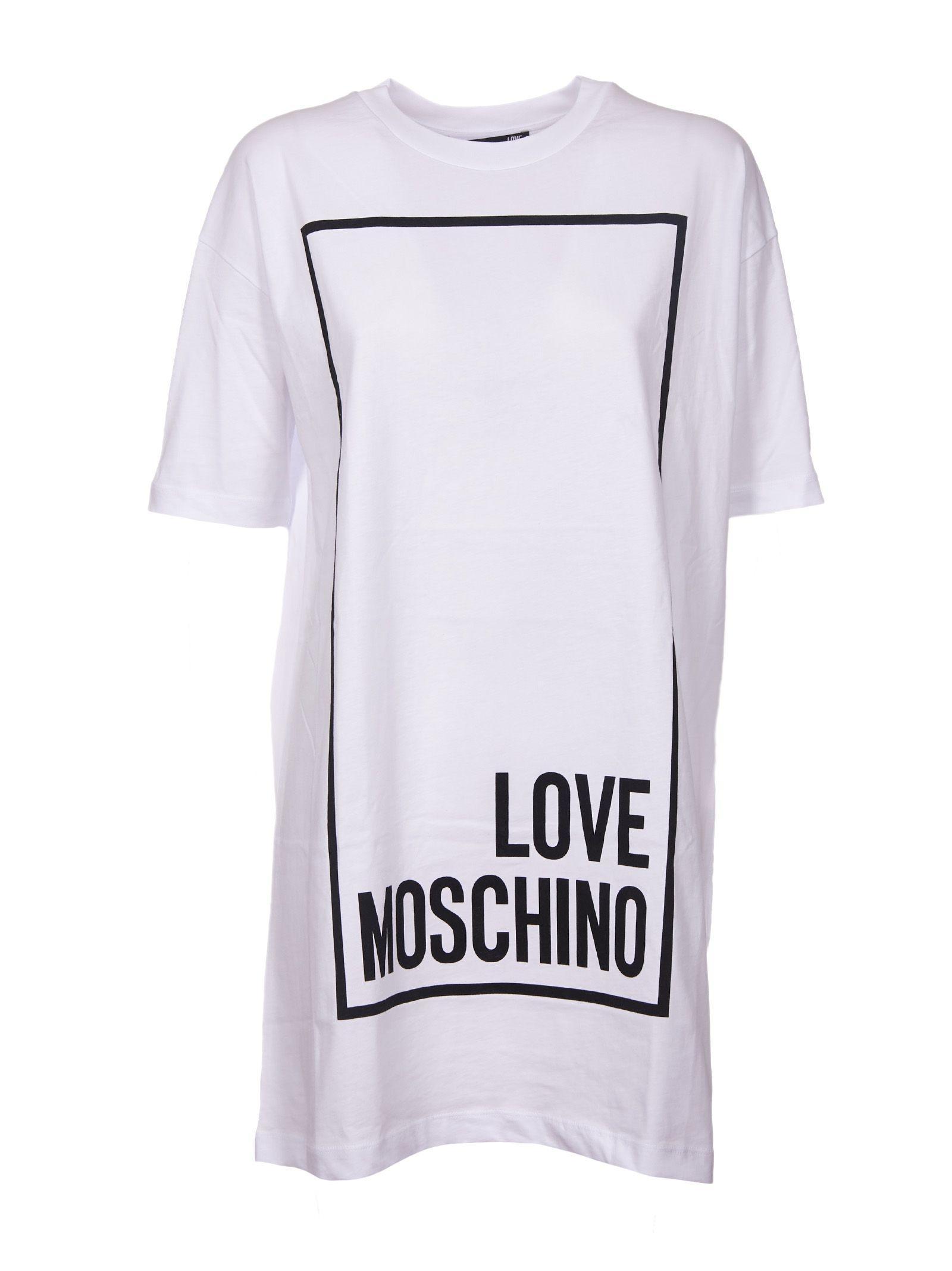 Love Moschino Logo Print T-shirt Dress In White