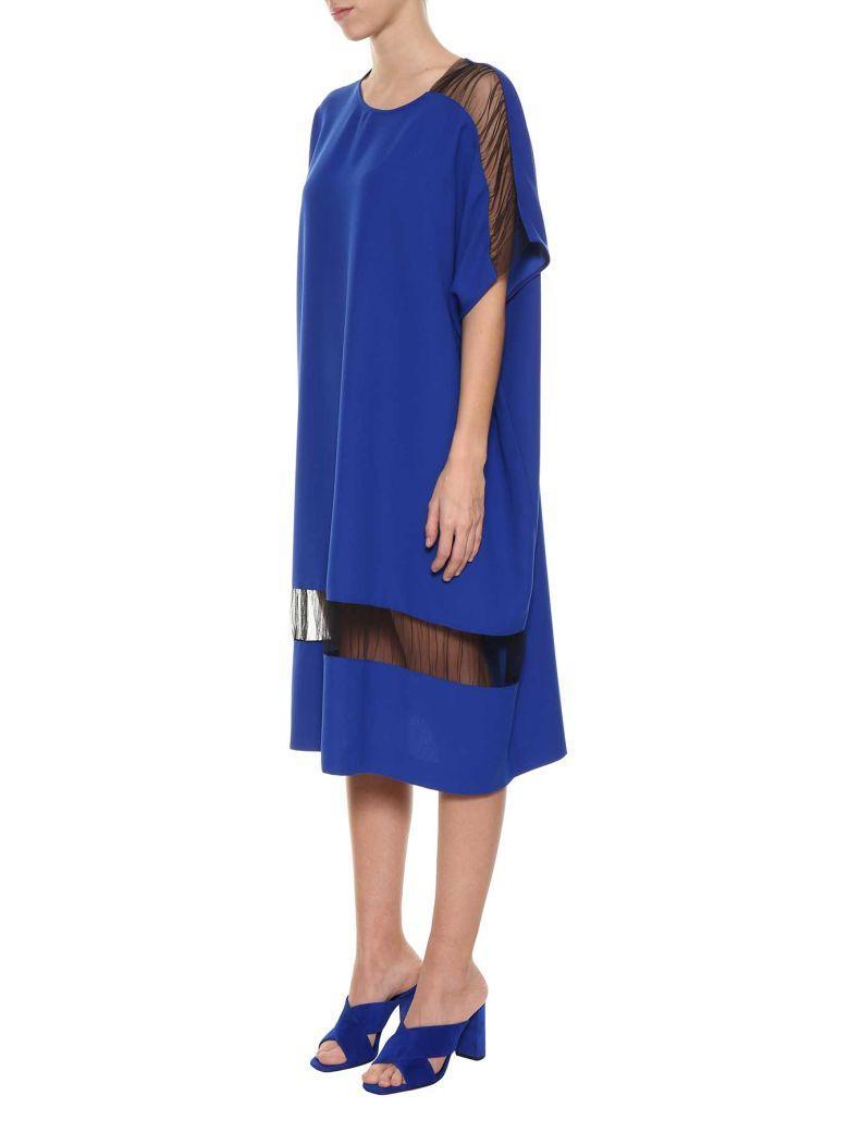 Maison Margiela Oversized Mesh Panel Dress In Blu
