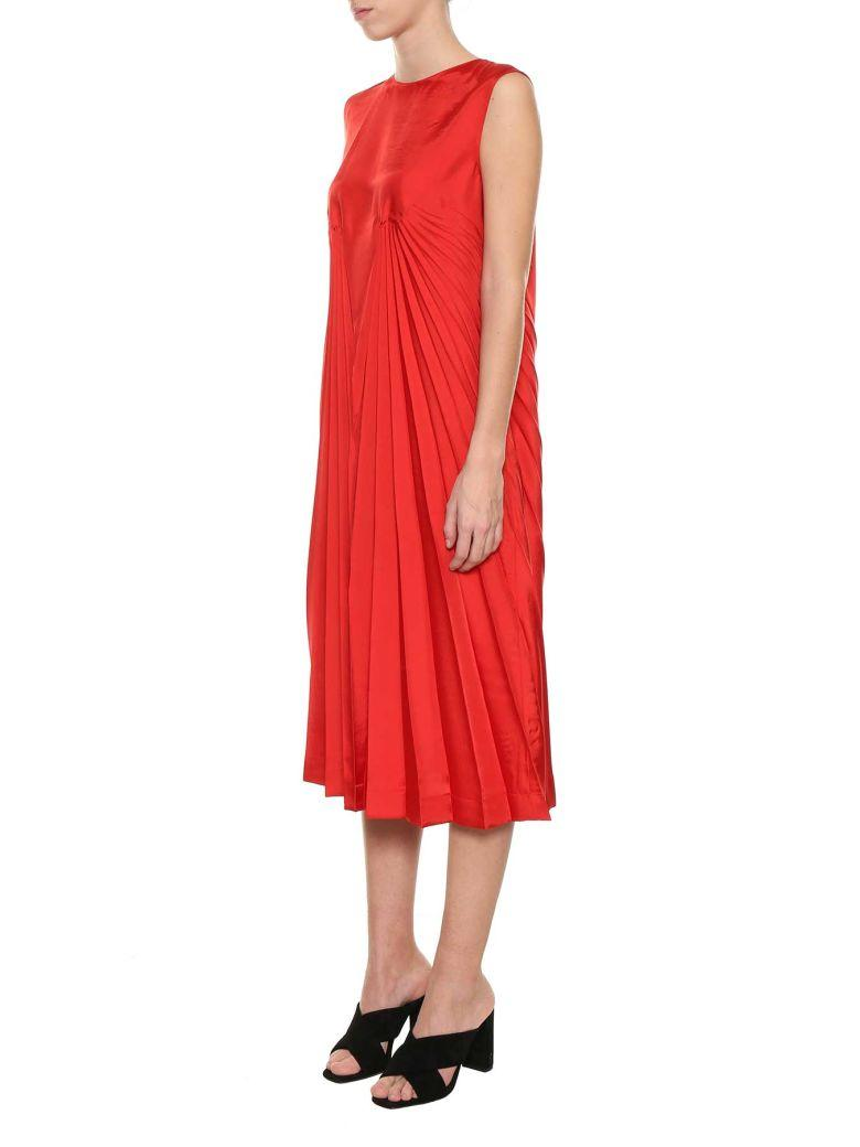 Maison Margiela Ruffle Twill Dress In Rosso