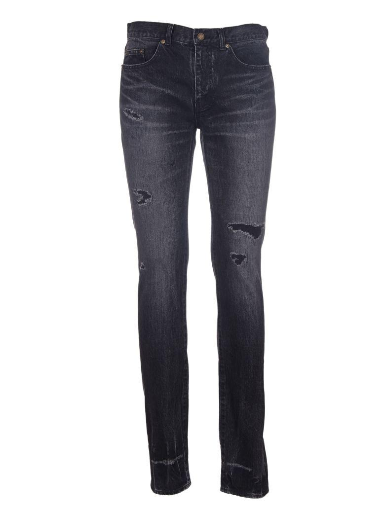 Saint Laurent Ripped Low Waisted Skinny Jeans In Nero
