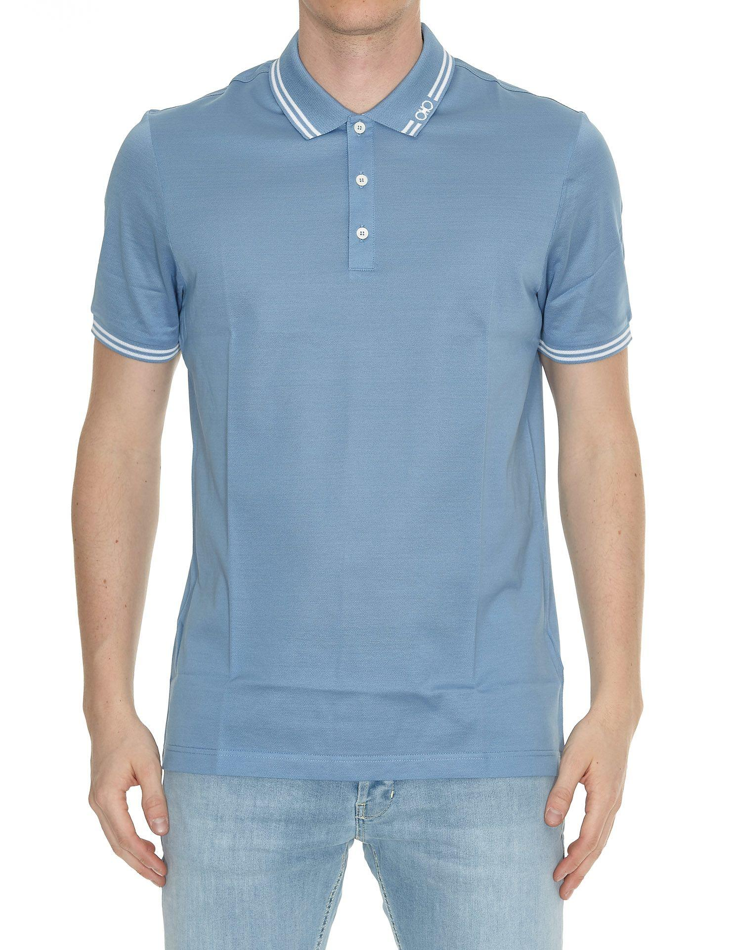 Salvatore Ferragamo Polo T-shirt In Light Blue