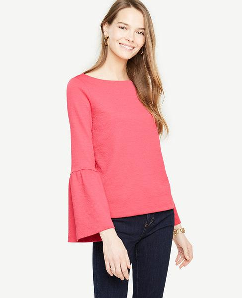 Ann Taylor Flare Sleeve Knit Top In Baja Rose
