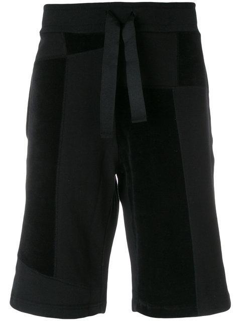 Christopher Raeburn Patchwork Drawstring Lounge Shorts In Black