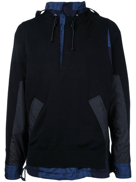 Sacai Knitted Cagoule Sweater - Black