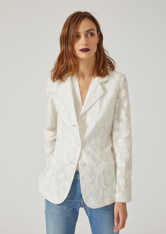 Emporio Armani Casual Jackets - Item 41786065 In Silk White ; Blue