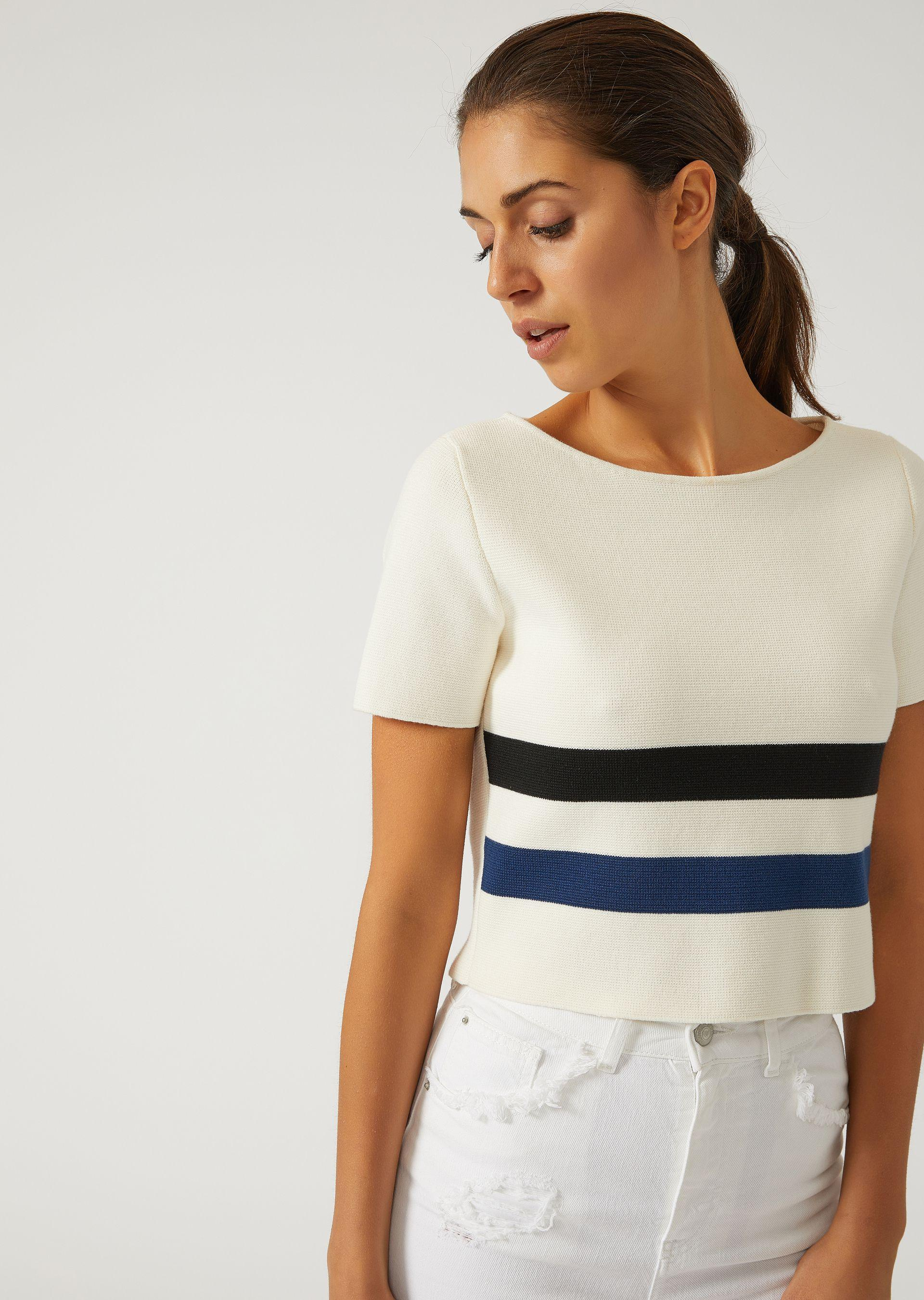 Emporio Armani Knitted Tops - Item 39850260 In Navy Blue ; Milky White