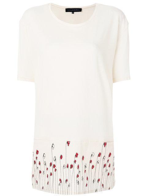 Miaoran Floral Print T-shirt - Nude & Neutrals