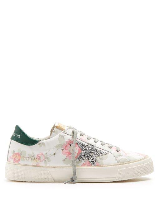 da1675975672 Golden Goose May Floral-Print Leather Trainers In White Multi