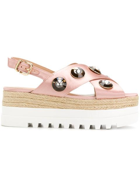 Liu •jo Crystal Embellished Flatform Sandals