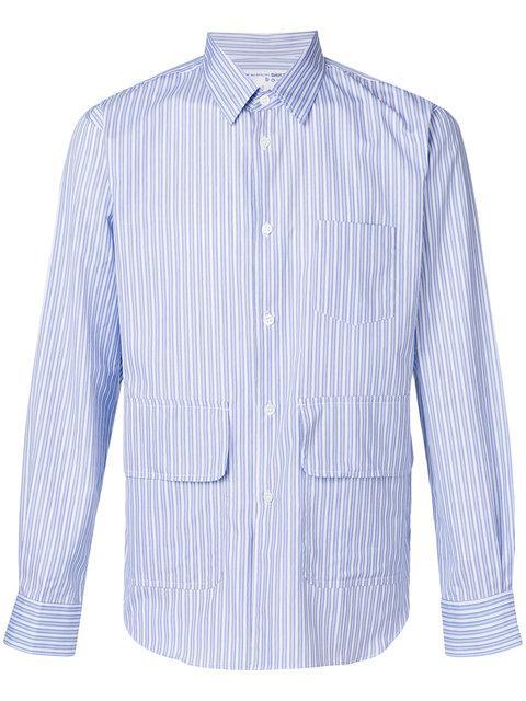 Comme Des GarÇons Shirt Boys Suiting Stripe Patch Pocket Shirt - White