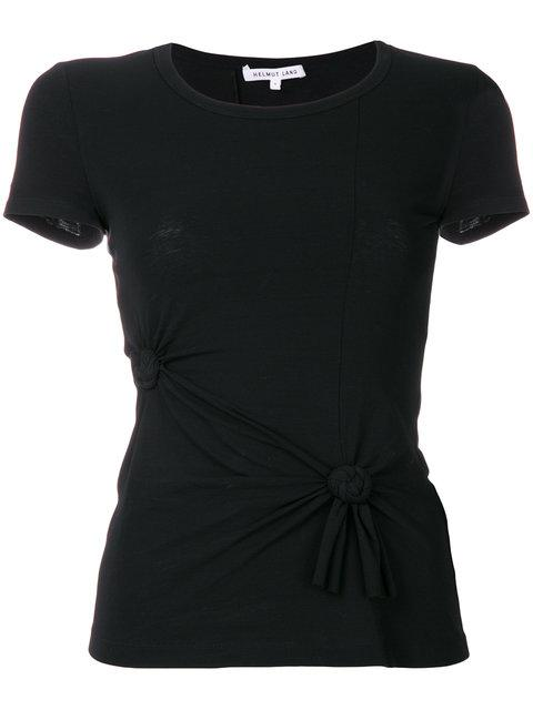 Helmut Lang Knotted Cotton-blend Jersey T-shirt In Black