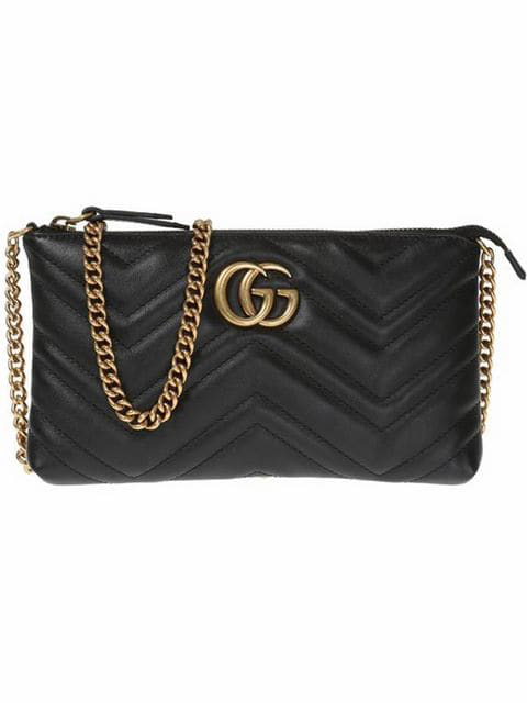Gucci Gg Marmont Mini Chain Bag In Black ,black