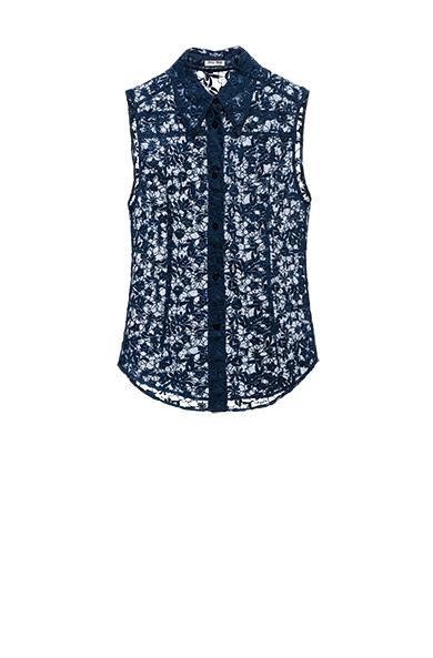 Miu Miu Narcissus Guipure Lace And Voile Top In Ink Blue