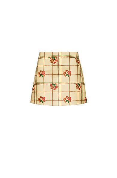 Miu Miu Printed Nappa Leather Skirt In Vanilla