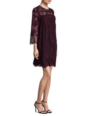 The Kooples Embroidered Lace Shift Dress In Burgundy
