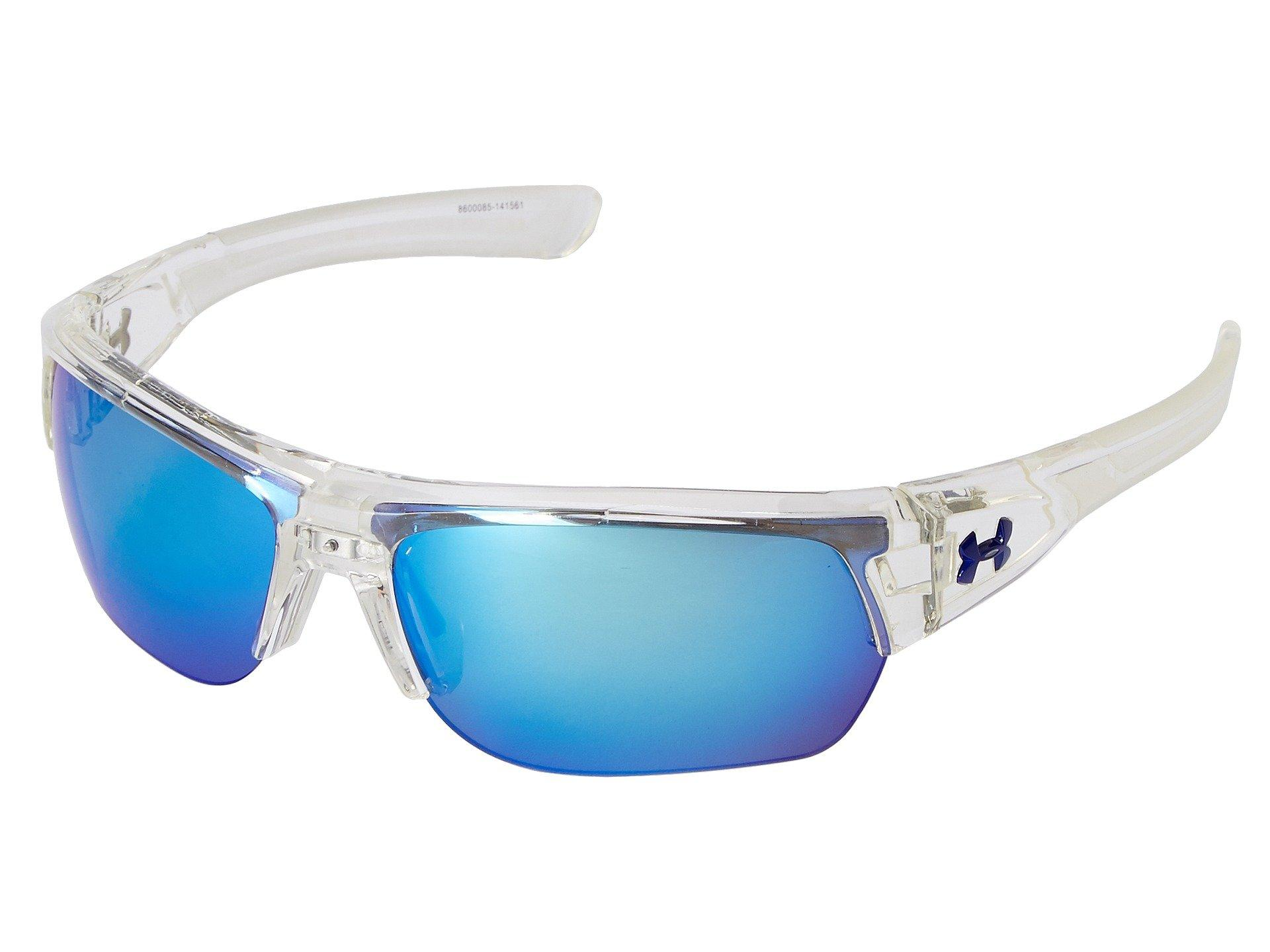 Under Armour Ua Big Shot In Shiny Crystal Clear/clear Frame/gray/blue Multiflection Lens