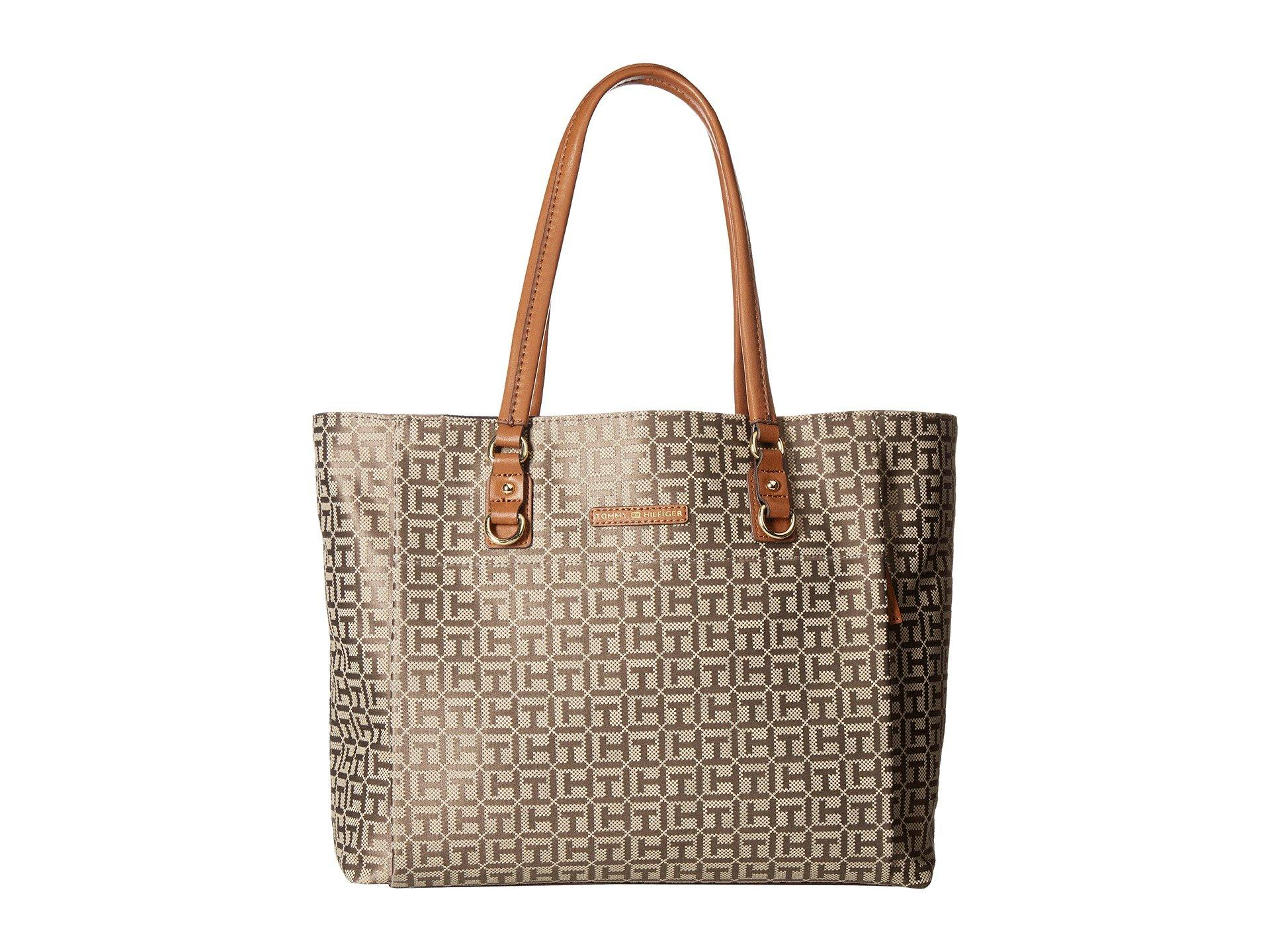 Tommy Hilfiger Kelby Tote In Tan/dark Chocolate