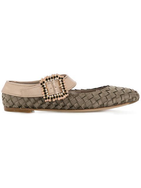 Agl Attilio Giusti Leombruni Agl Woven Buckled Ballerina Shoes - Neutrals