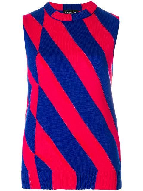 Calvin Klein 205w39nyc Striped Pullover In Blue