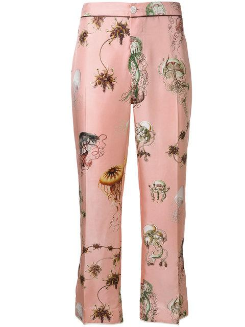 F.r.s For Restless Sleepers Jellyfish Print Cropped Trousers In Pink