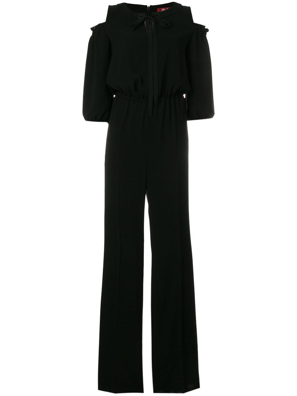 Max Mara Dropped Shoulder Tie Front Jumpsuit In Black