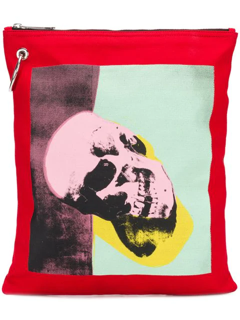 Calvin Klein 205w39nyc Calvin Klein X Andy Warhol Skull Print Pouch In Red