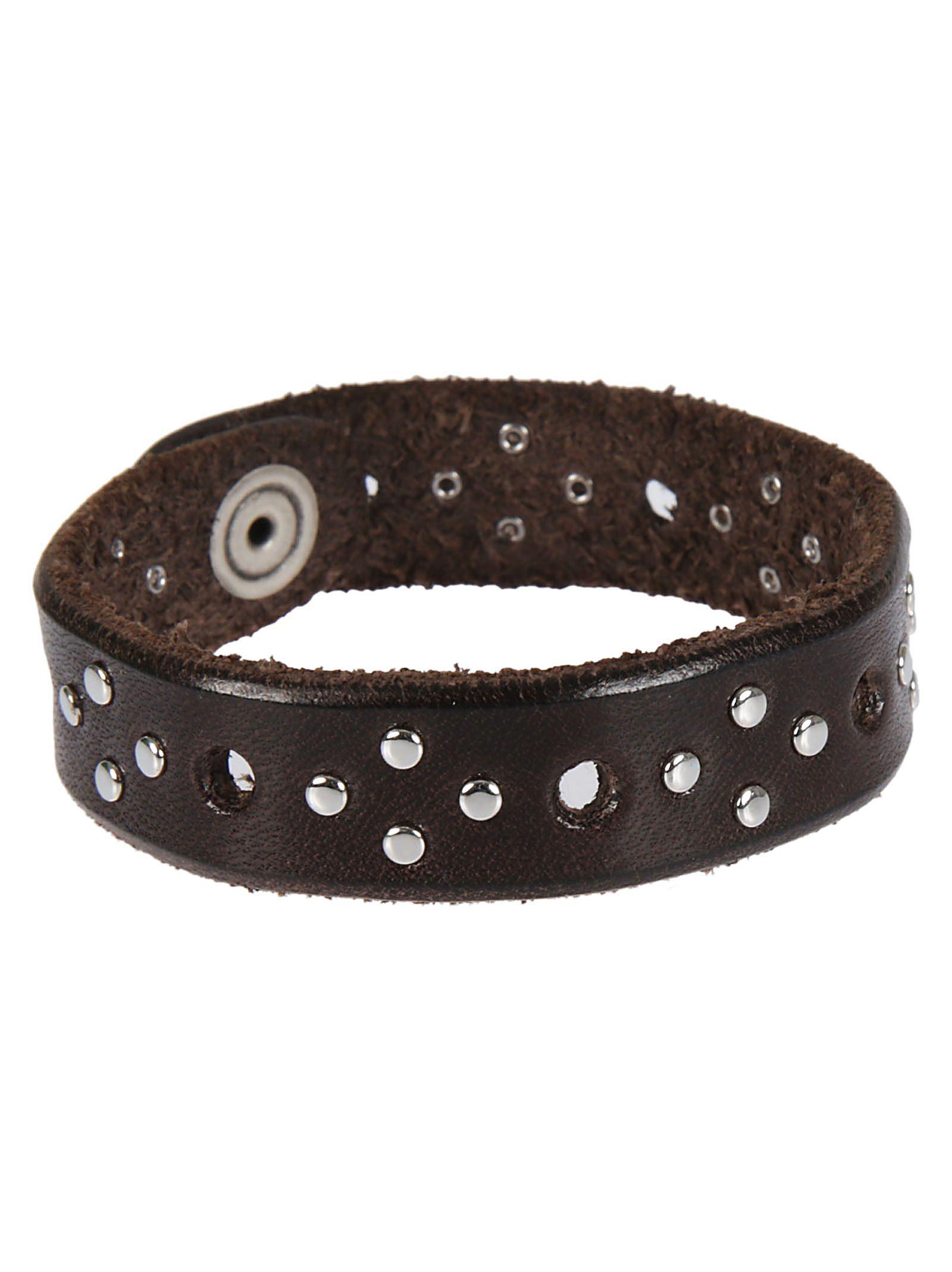 Orciani Cross-patterned Stud Bracelet In Brown