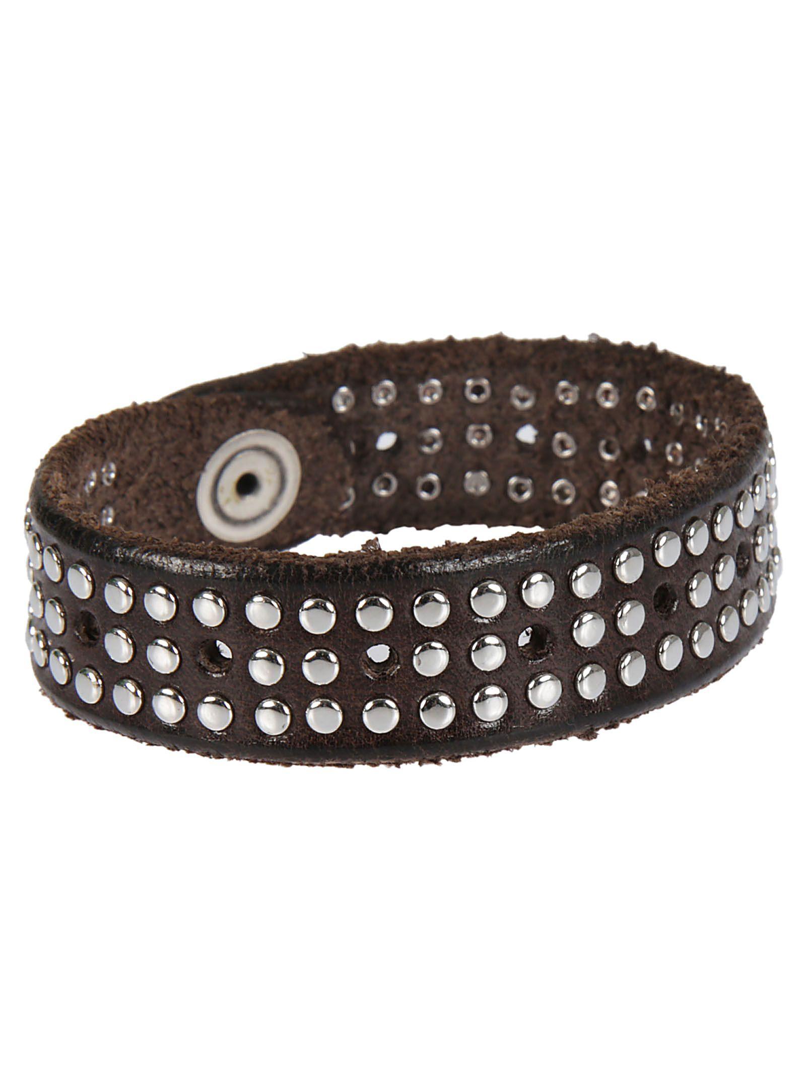 Orciani Three Line Stud Bracelet In Brown