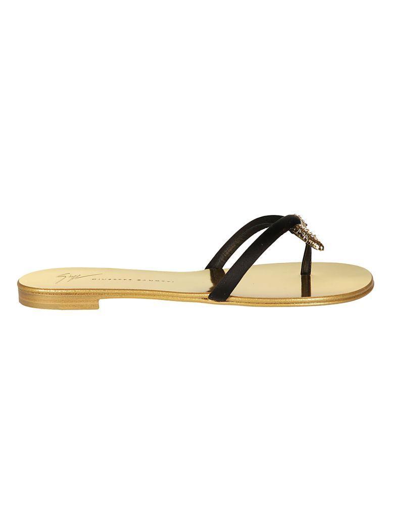 Giuseppe Zanotti Infradito Flat Sandals In Nero Opaco