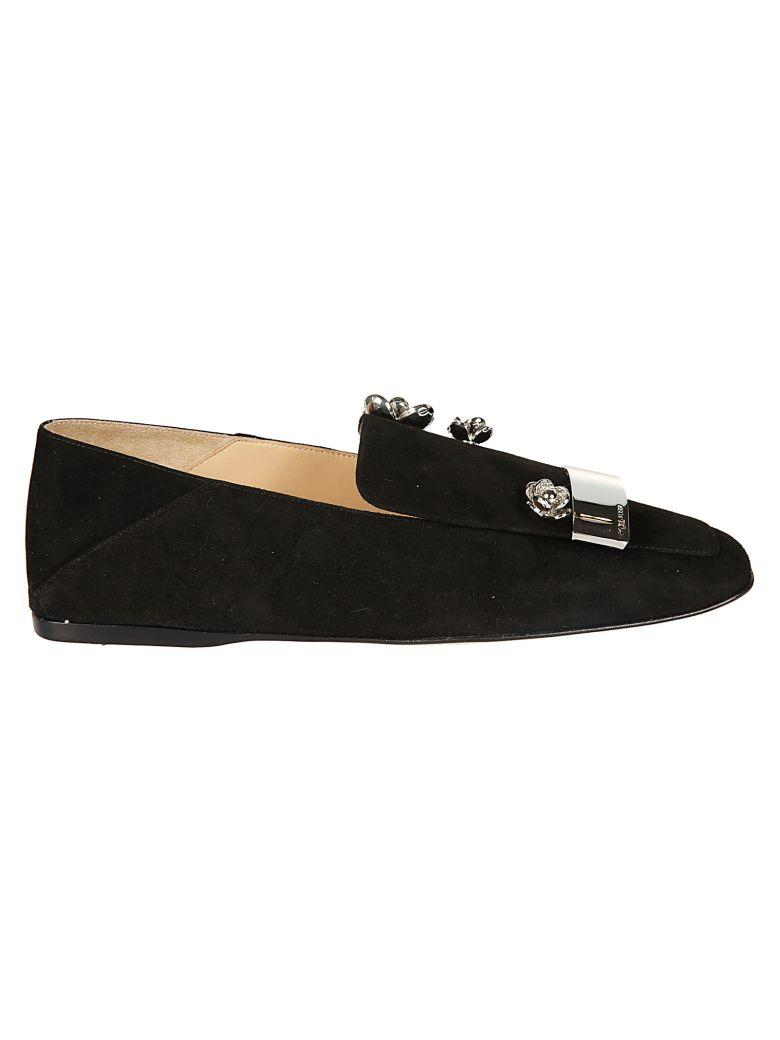 Sergio Rossi Embellished Slippers In Black