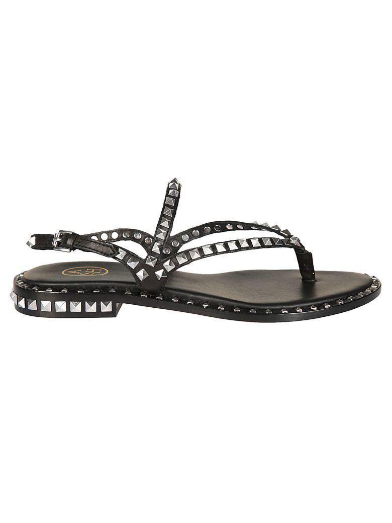 Ash Studded Flat Sandals In Black