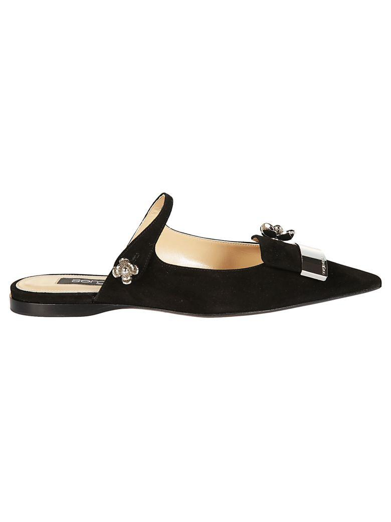 Sergio Rossi Crystal Floral Mules In Black