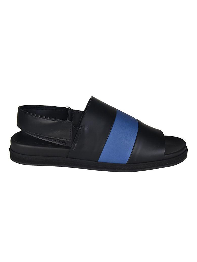 Marni Striped Sandals In Nero