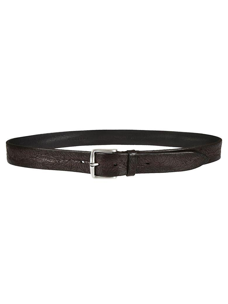 Orciani Floral Perforated Belt In Ebano