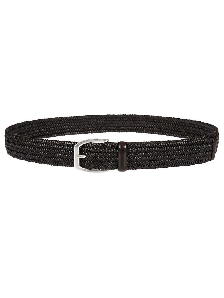 Orciani 5-line Braided Belt In Testa Di Moro