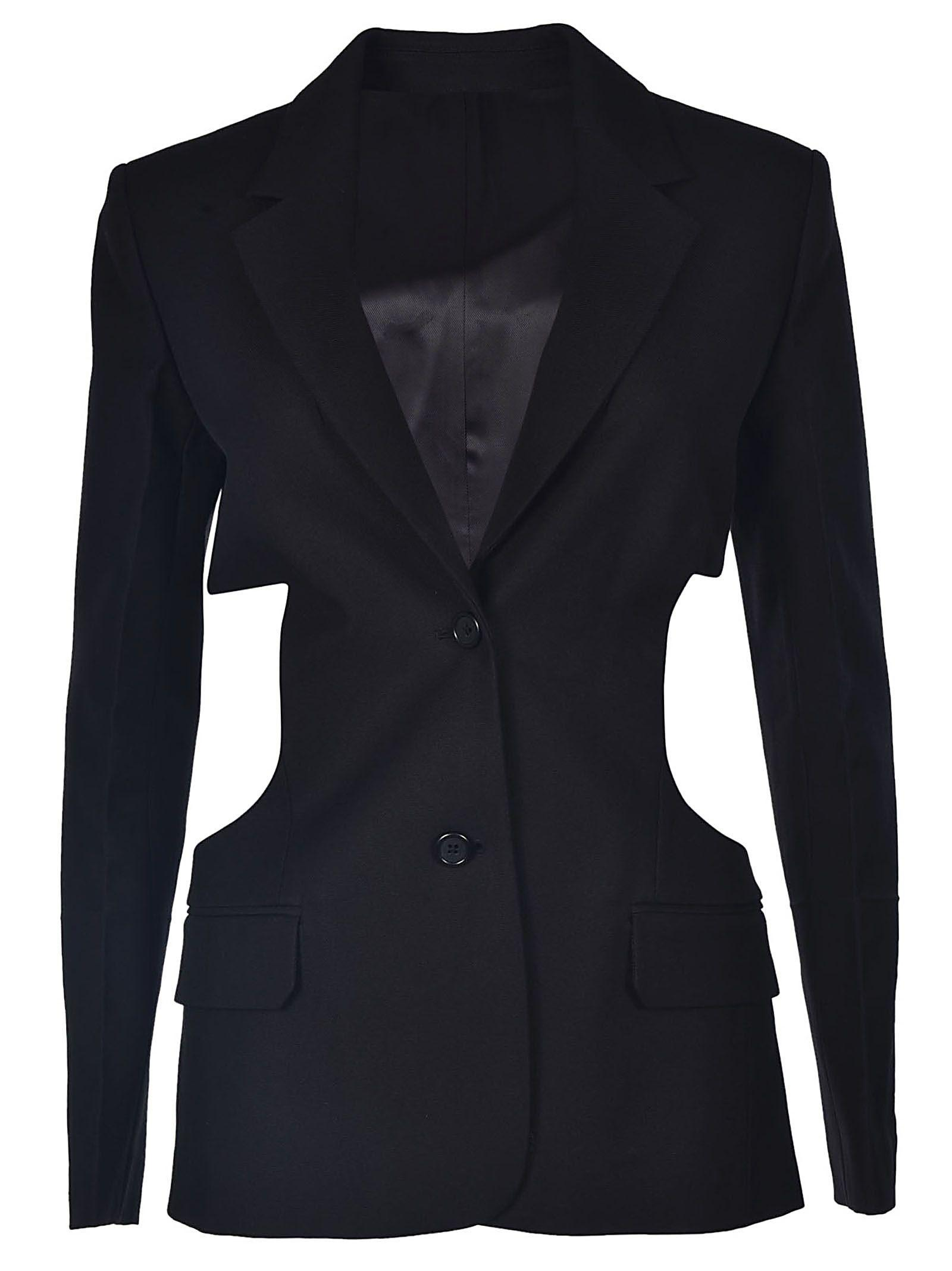 Helmut Lang Cut-out Canvas Blazer In Nero