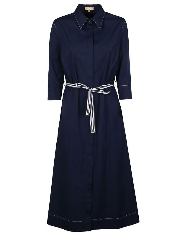 Fay Tie Waist Shirt Dress In Blue