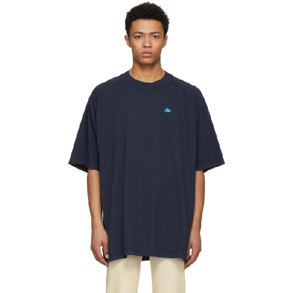 Acne Studios Basset Badge Cotton T-Shirt - Blue In French Blue