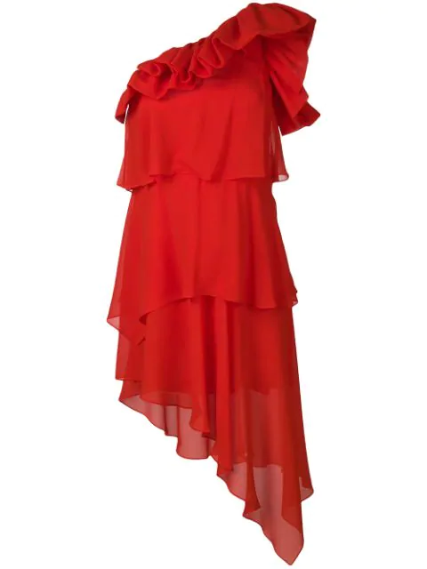 Givenchy Silk Georgette One-Shoulder Dress - Red