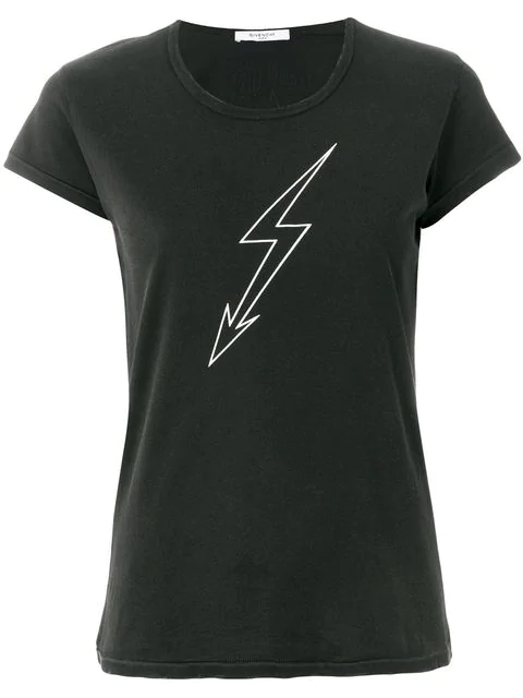 Givenchy Lightning-bolt World Tour Crewneck Short-sleeve Cotton Jersey T-shirt In Black
