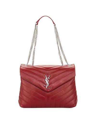163e7ea313c Saint Laurent Medium Lou Lou Leather Chain Flap Shoulder Bag In Burgundy