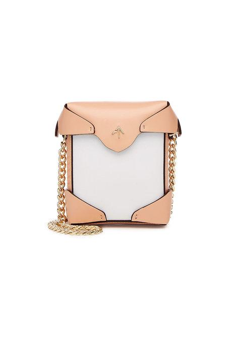 Manu Atelier Micro Pristine Leather Shoulder Bag In White