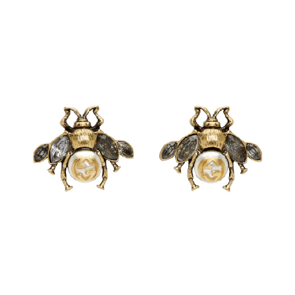 d7bee7503 Gucci Burnished Gold-Tone, Faux Pearl And Crystal Earrings In Brass ...