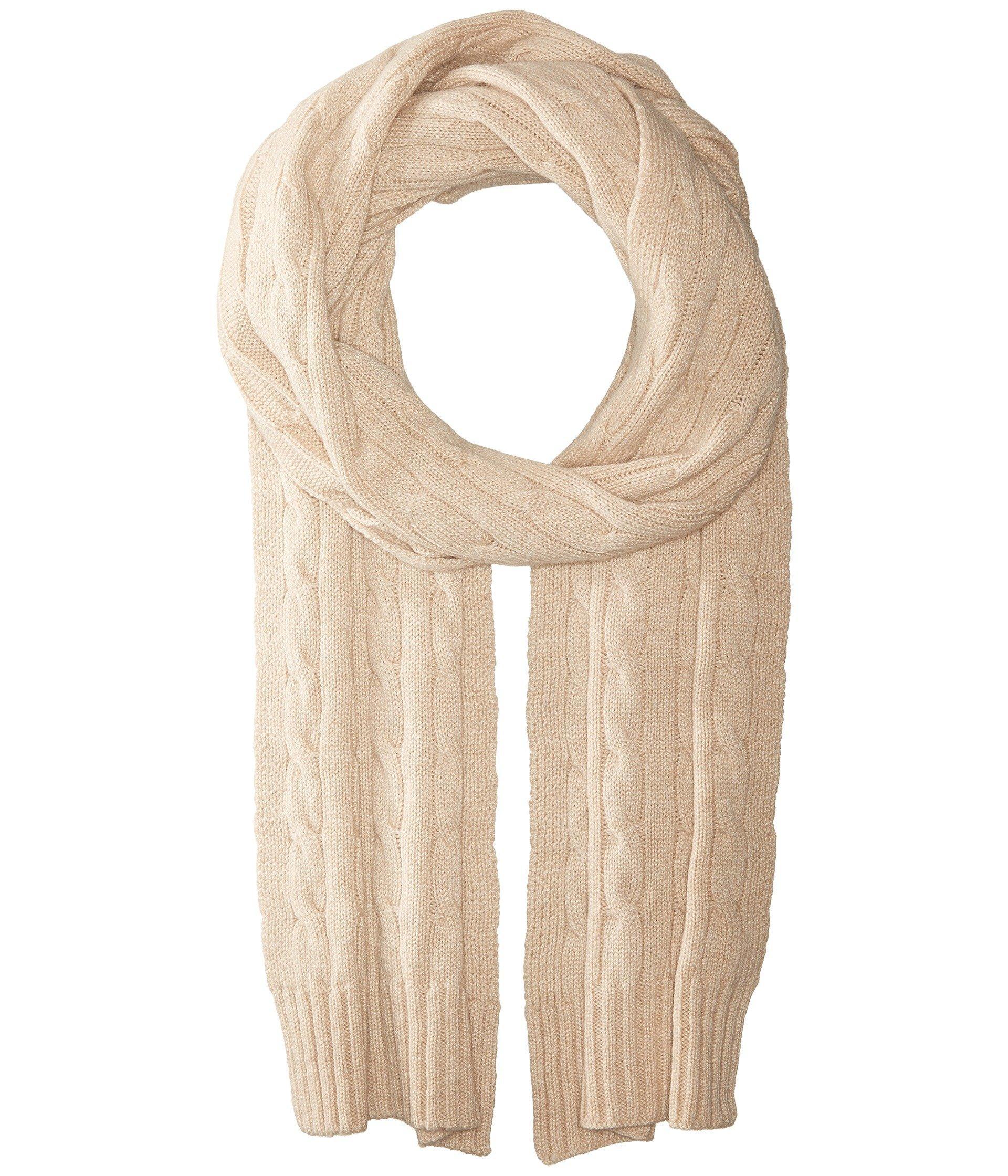 1e83d1f737f Polo Ralph Lauren Cashmere Classic Cable Scarf In Amber Grain Melange