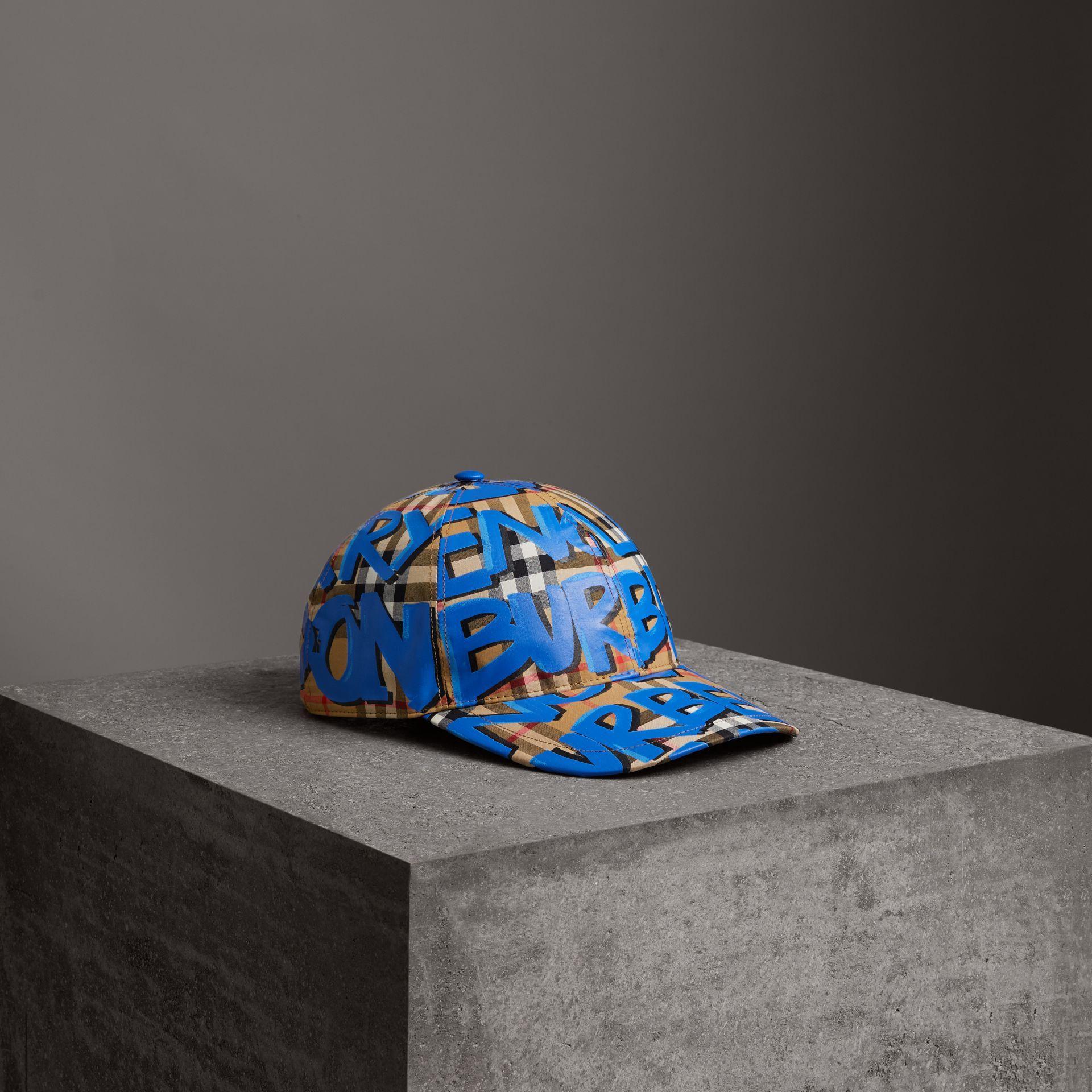 fcb048dcbe8 Burberry Graffiti Print Vintage Check Baseball Cap In Blue