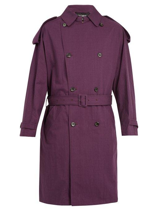 Raf Simons Double-Breasted Cotton-Blend Belted Trench Coat In Burgundy