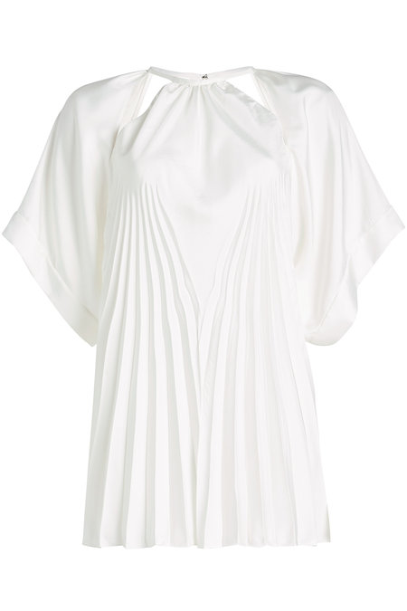 Maison Margiela Pleated Blouse With Cut-Out Detail In White