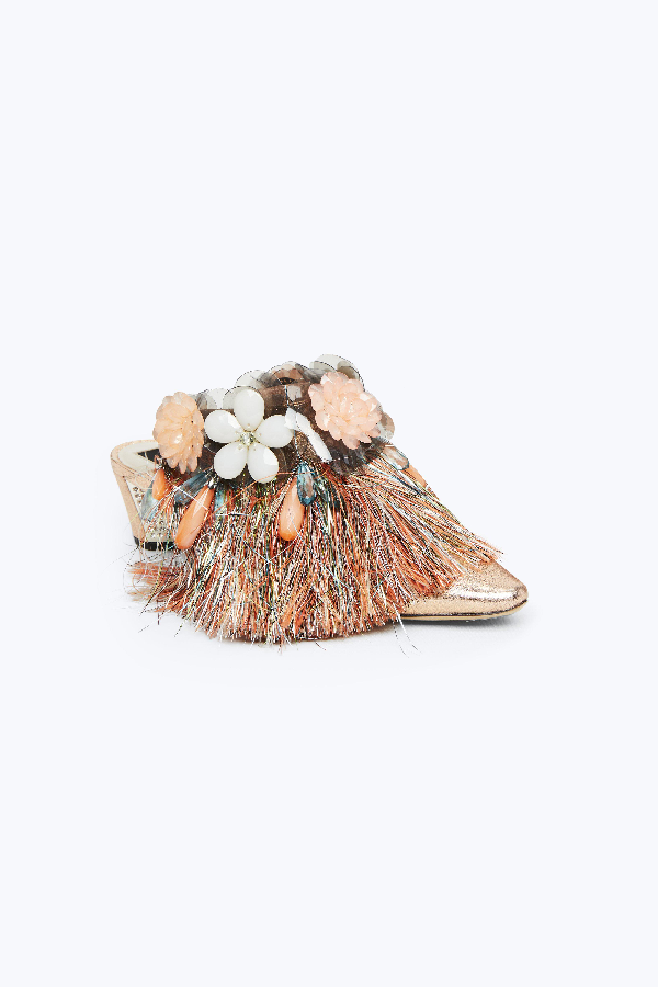 Marc Jacobs Tinsel Embellished Mule In Rose Gold
