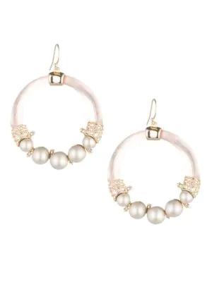 Alexis Bittar 10K Gold Pearl Crystal Hoop Earrings In Yellow Gold