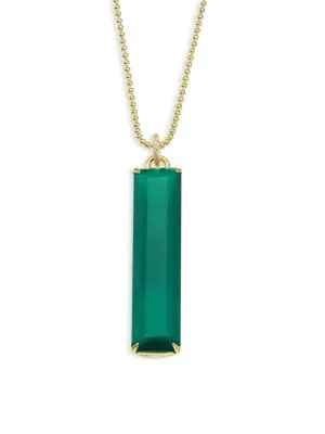 Ila Linus Green Onyx & 14k Yellow Gold Pendant Necklace In Gold-emerald